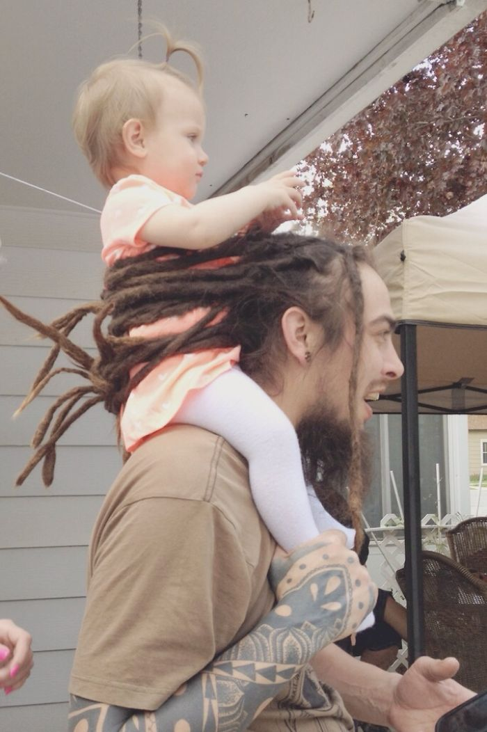 Man Uses Dreads As A Baby Safety Device