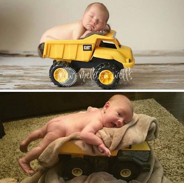 Sweet Baby In A Toy Truck. Nailed It