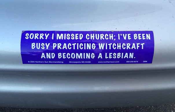 Just Saw This Bumper Sticker