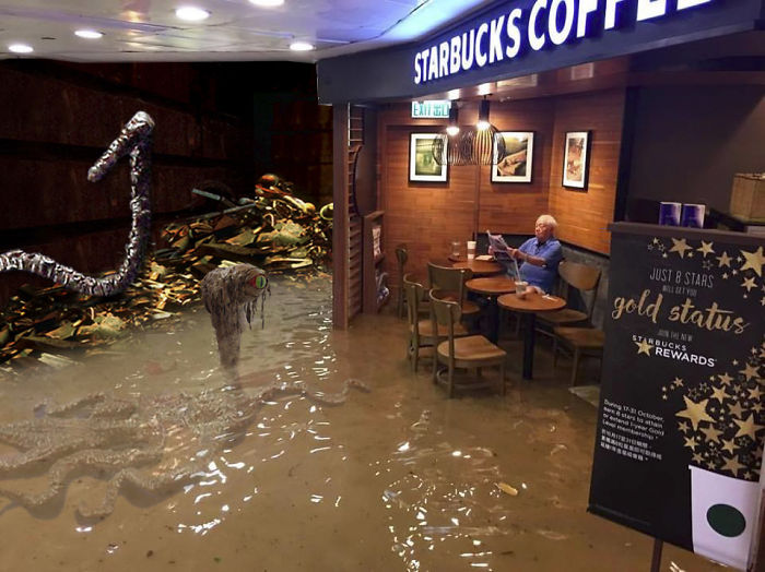 Starbucks Trash Compactor!!