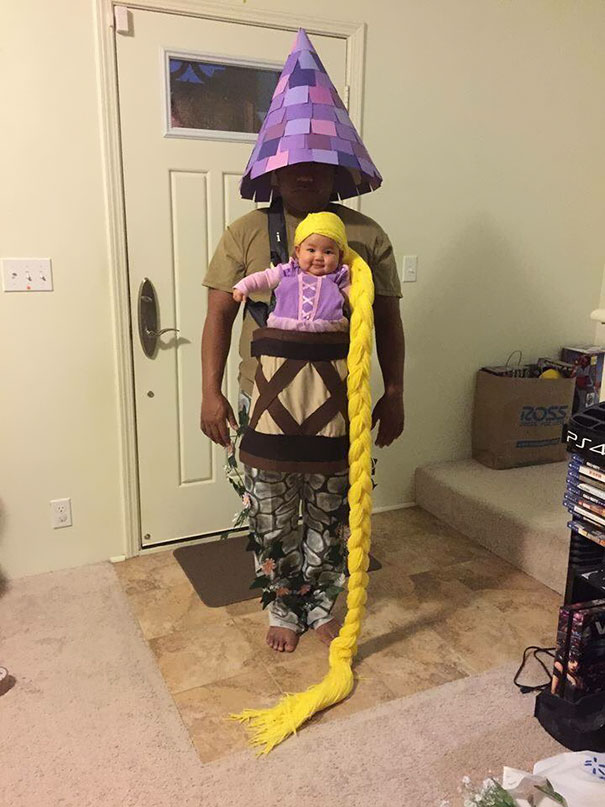 15 of the best parent child halloween costume ideas ever bored 1 baby rapunzel in her tower solutioingenieria Gallery