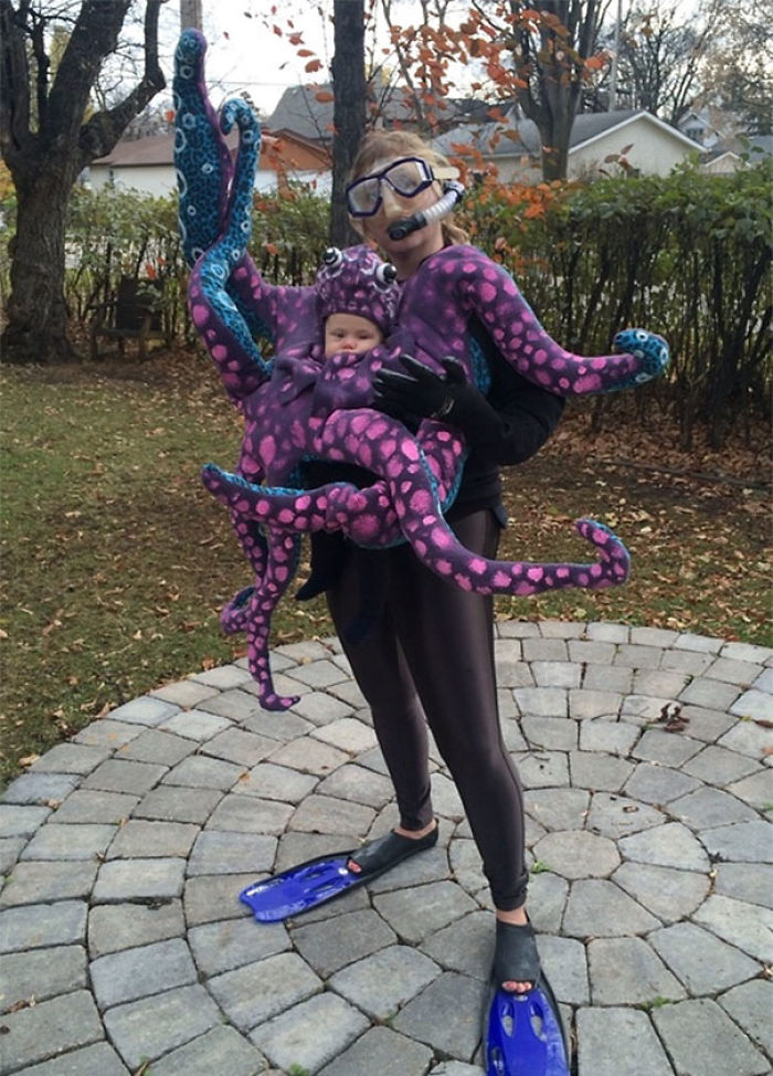 octopus baby and diver mom costume