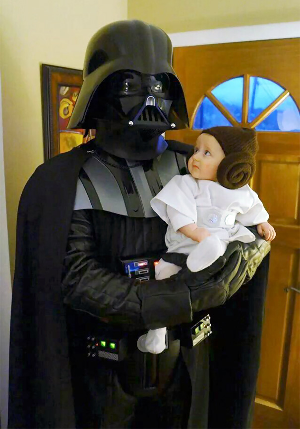 12 darth vader and princess leia costume