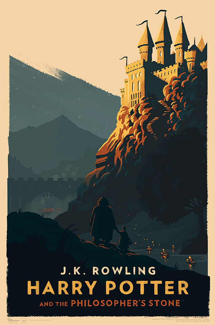 Book Cover With Illustration : Magical vintage harry potter book covers by olly moss