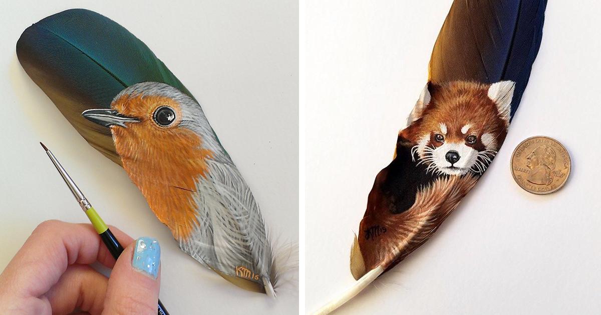 Pinto Retratos Realistas De Animales Sobre Plumas Delicadas Bored