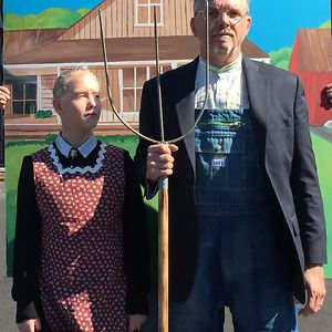 My Daughter And I Doing American Gothic. We Won Best Costume/ Best Over All. April Boss Pained.