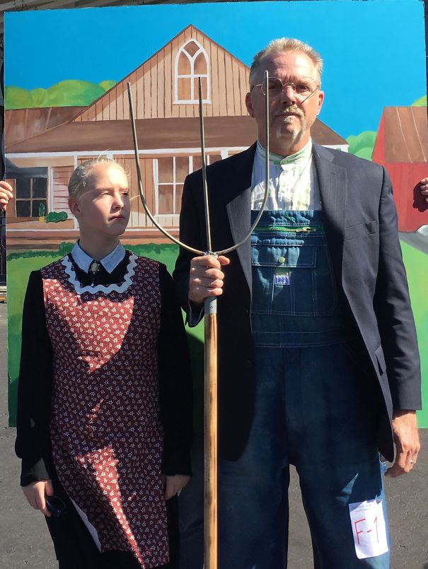 My Daughter And I Doing American Gothic We Won Best Costume Over All