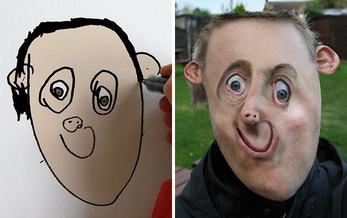 Este padre convierte en reales los dibujos de su hijo de 6 años y son tan divertidos como terroríficos
