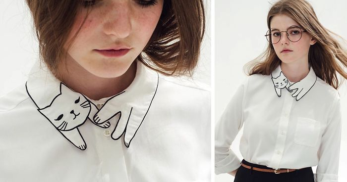 This Shirt S Collar Is Purrfect For Crazy Cat Ladies Bored Panda