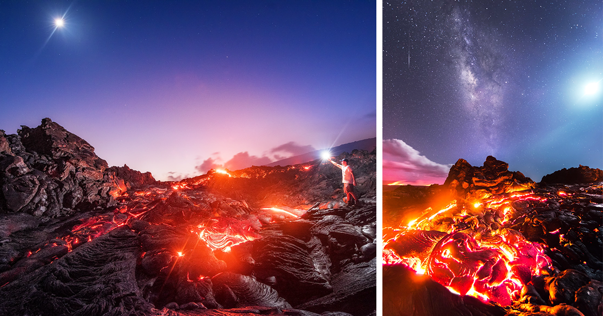 Photographer Risks Getting Burned To Capture Lava, Meteor, Milky Way And Moon In A Single Shot