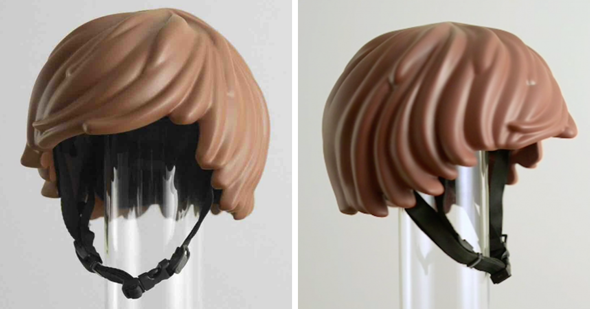 Someone Made A Real Life Lego Hair Bike Helmet That Turns