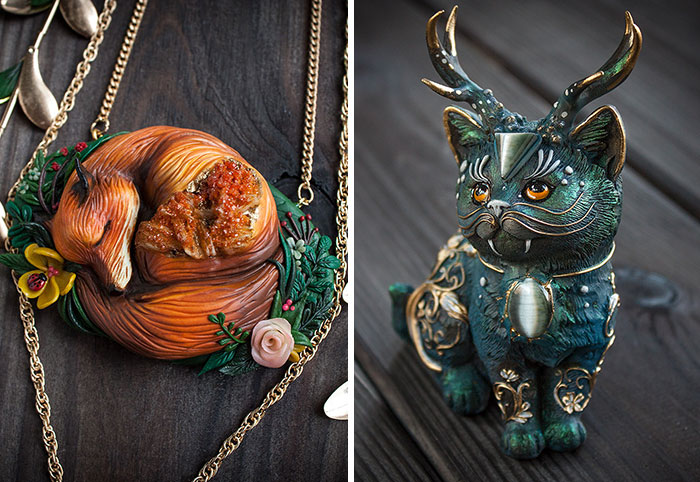 Mythical Animal Jewelry That I Make Using Various Minerals And Polymer Clay