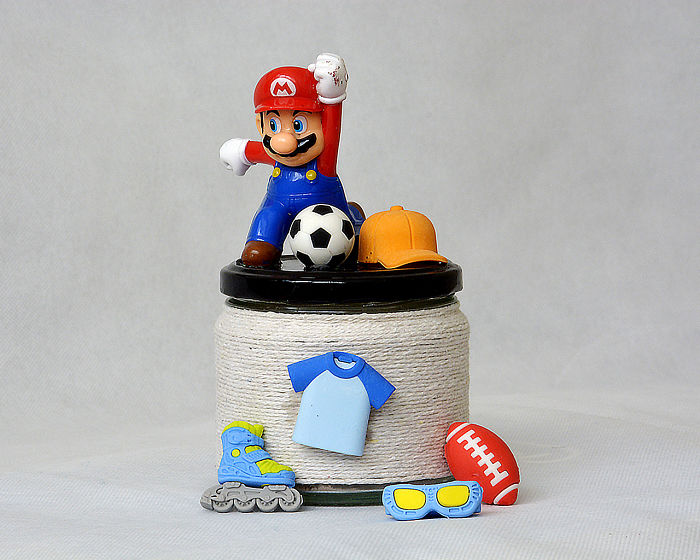 I Made This Super Mario Piggy Bank From Old Jar And Sports Erasers