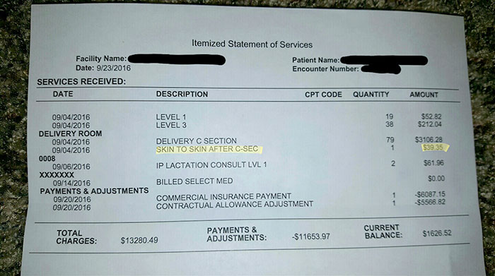 Mom Gets Charged Extra $39.35 To Hold Her Baby After Giving Birth