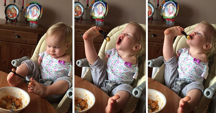 Toddler Born Without Arms Learns To Feed Herself Using Her Feet