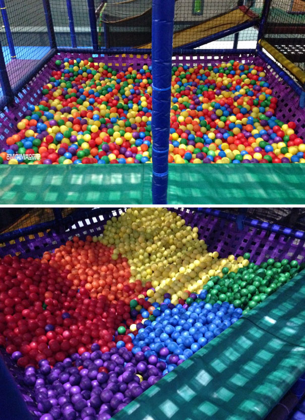 Bored Kids Organize A Ball Pit By Color