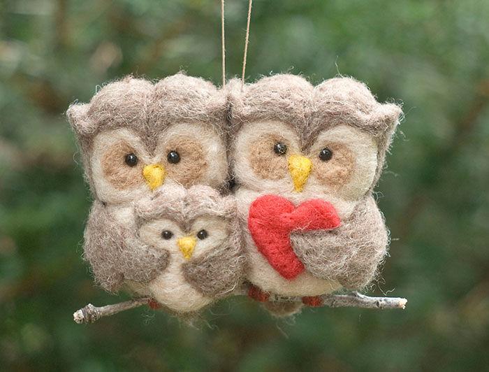 Felted Owl Family