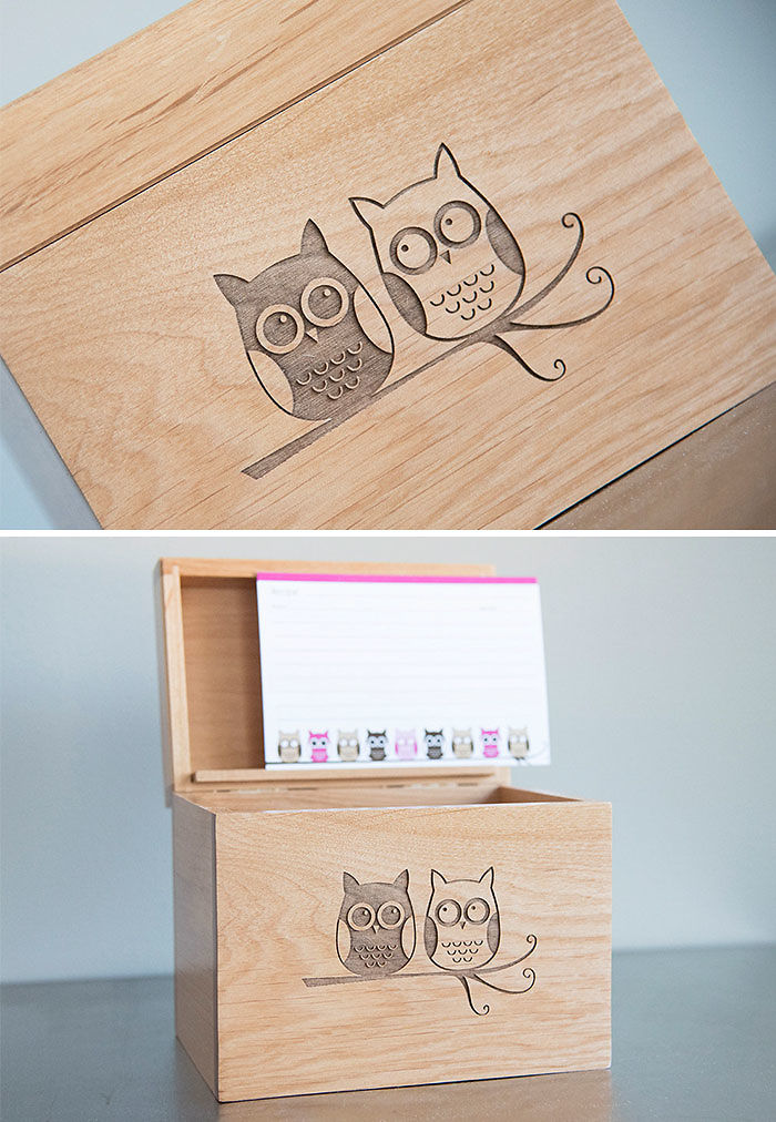 Wooden Recipe Box With Owls