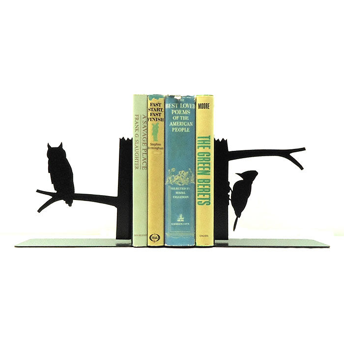 Owl And Woodpecker Metal Art Bookends