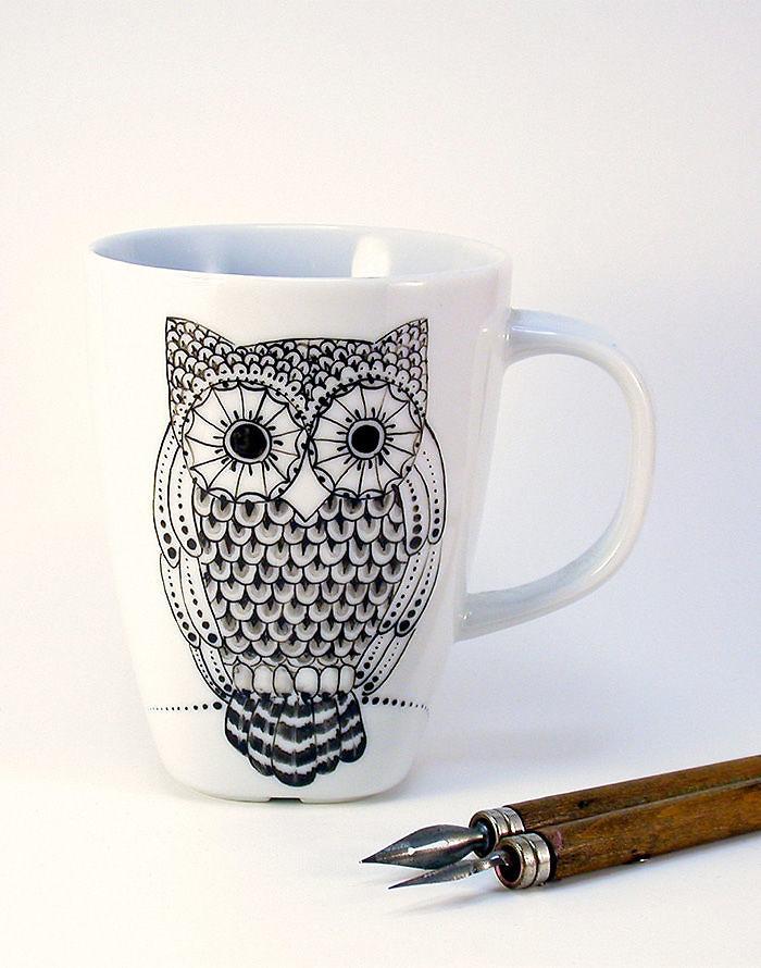 Handpainted Owl Mug