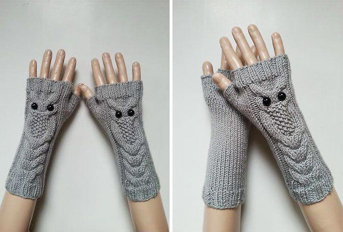 Owl Hand-knitted Fingerless Gloves