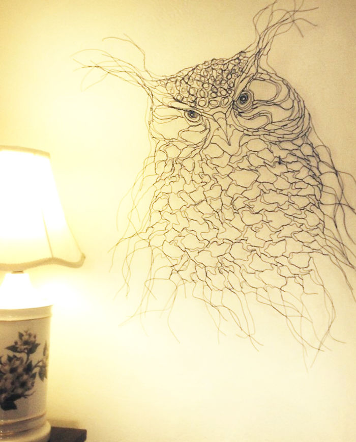 I Made This Owl Spirit Wire Wall Art, Twisting Strands Of Wire By Hand