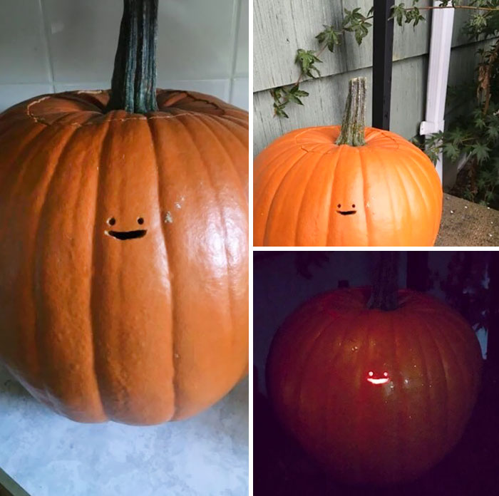 This jack o lantern s tiny face is the laziest pumpkin