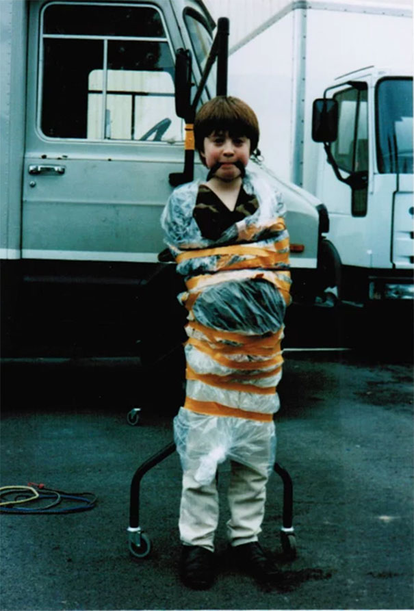 10-Years-Old Daniel Radcliffe Playfully Getting What He Deserved After Running Around And Spraying Everybody With Water Pistol On The Set Of David Copperfield