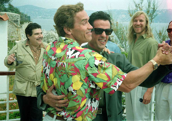 Sylvester Stallone And Arnold Schwarzenegger Dancing In Antibes, At The Cannes Film Festival, 1990