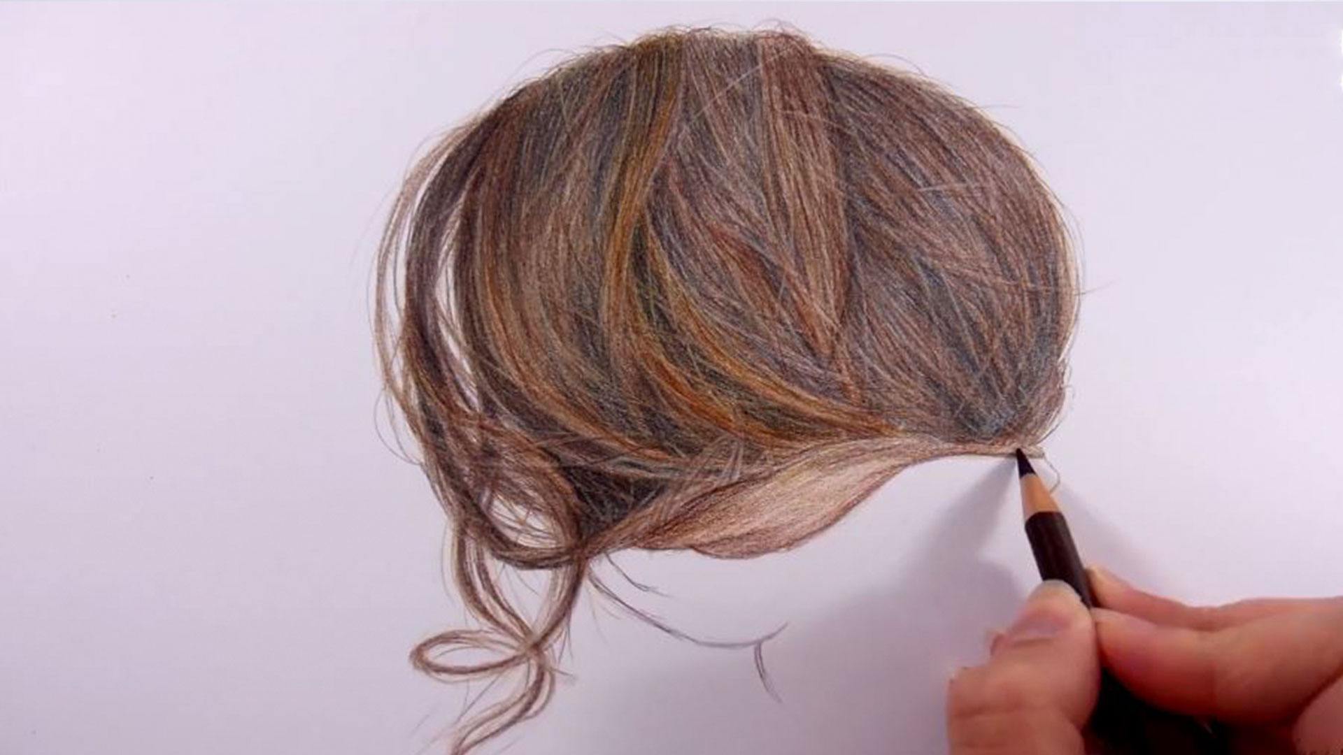 Unbelievably Realistic Hair Drawn Using 8 Colored Pencils