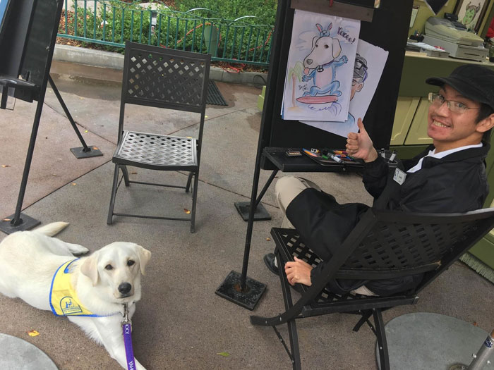 Service Dog Gets A Caricature At Disneyland, Internet Can't Handle It