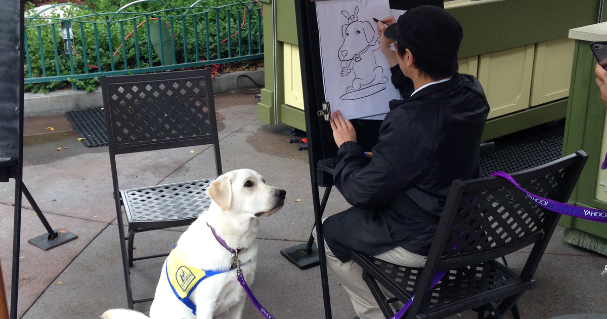 Service Dog Gets A Caricature At Disneyland Internet Cant Handle