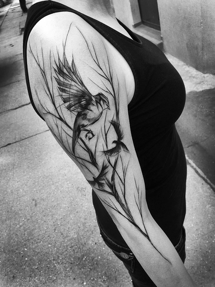 Harness The Power Of Your Spirit Animal With These Insane Sketch Tattoos U2013 Mystical Raven