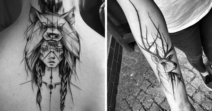 Polish Tattoo Artist Shows The Beauty Of Imperfection With Her Sketch Tattoos 101 Pics Bored Panda