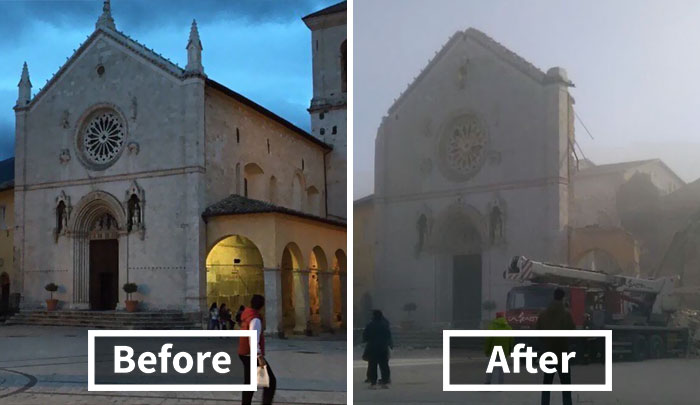 St. Benedict Basilica Destroyed By An 6.6 Earthquake In Central Italy