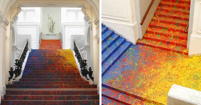 Polish Artist Splatters National Gallery S Staircase With Paint And