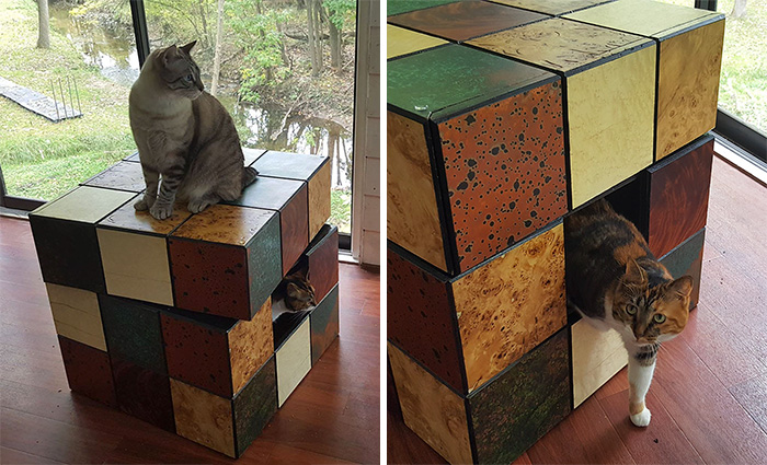 We Built A Rubik's Cube Bed For Our Cat
