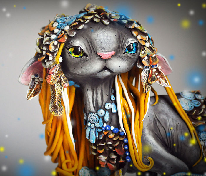 Russian Artist Combines Fantasy And Rasta Elements To Create Magical Cats