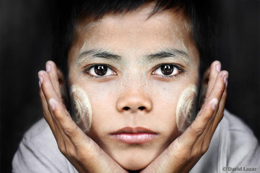 Boy With Thanaka Paste Face, Yangon