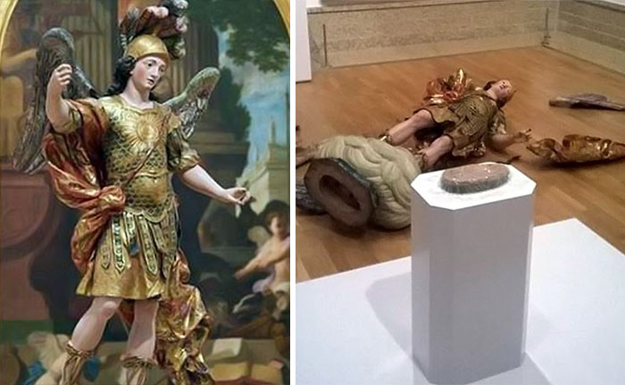 18th Century Statue Destroyed By A Tourist Taking A Picture In Lisbon Museum