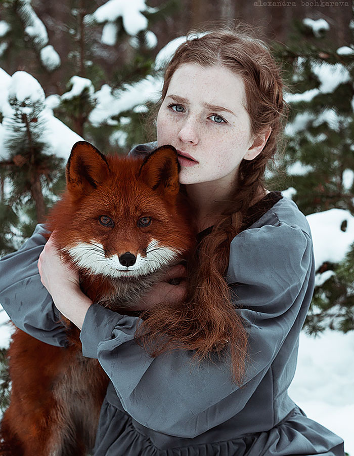 Fairytale Portraits Of Redheads With A Red Fox By Uzbek - Photographer captures fairytale like portraits women animals