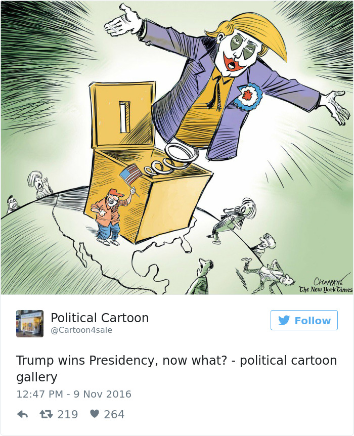 Cartoonists Around The World Illustrate How They Feel About Trump - 22 cartoonists from around the world respond to trumps election win