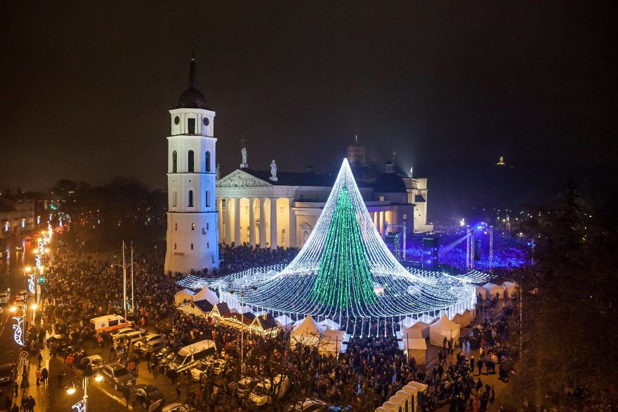 in total it covers 2500 square metres the lightbulbs are so bright that they are visible to everyone flying ito or out of vilnius - Christmas Tree Covers