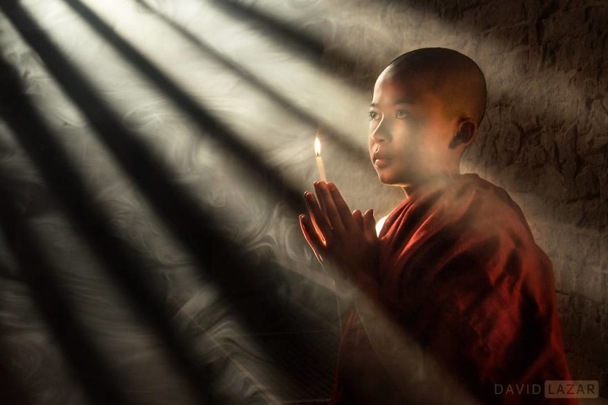 Monk In Rays Of Light. Novice Monk In Bagan