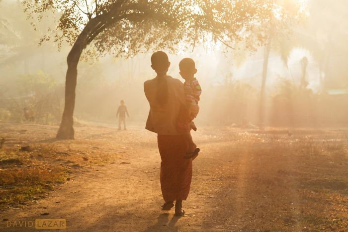Mother And Child In Morning Rays, Taken In Mrauk U