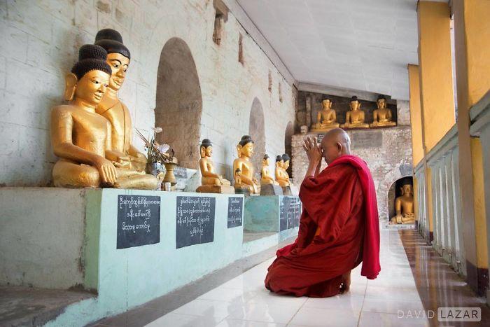 Monk Praying To Many Buddhas, Shitthaung Temple, Mrauk U
