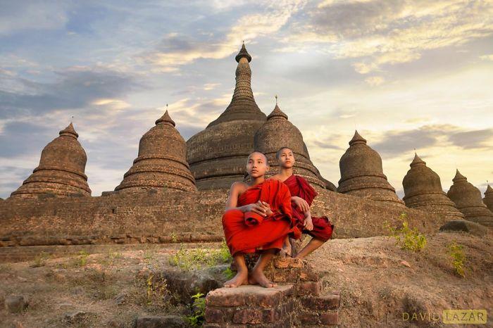 Two Monks At Mrauk U