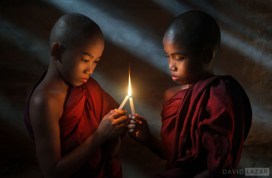 The Light Of Brotherhood. Novice Monks In Bagan