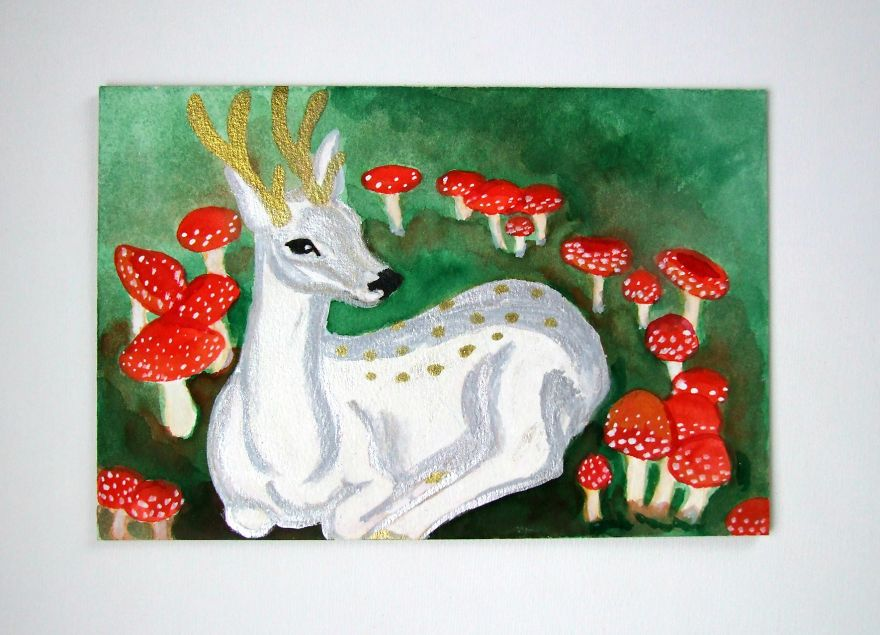 Magical Stag In Fairy Ring, Inspired By Folklore