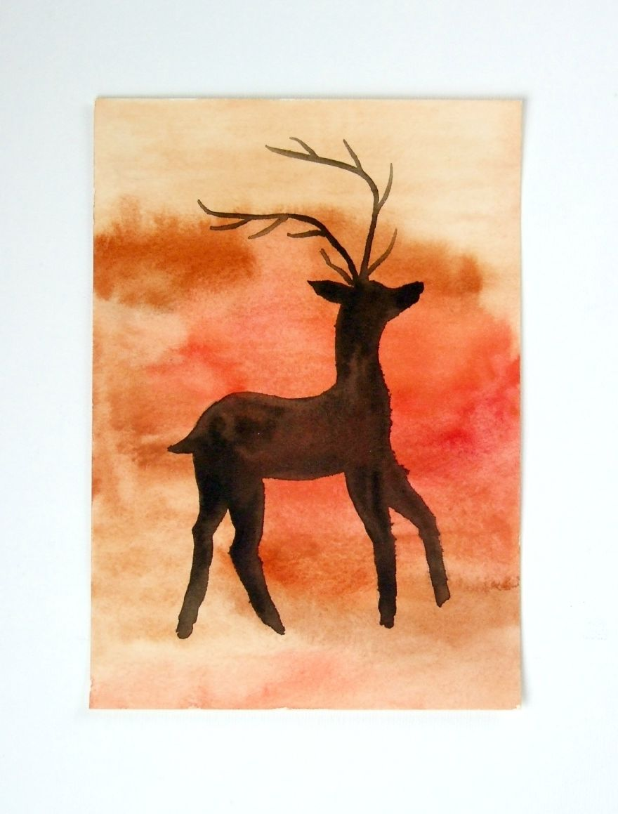 Cave Painting Style Stag